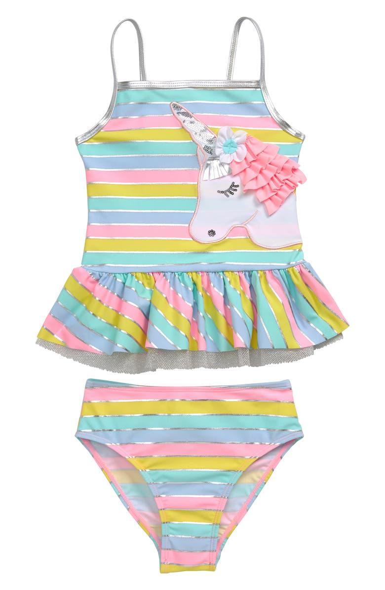 FLAPDOODLES Unicorn Stripe Two-Piece Swimsuit, Main, color, MULTI