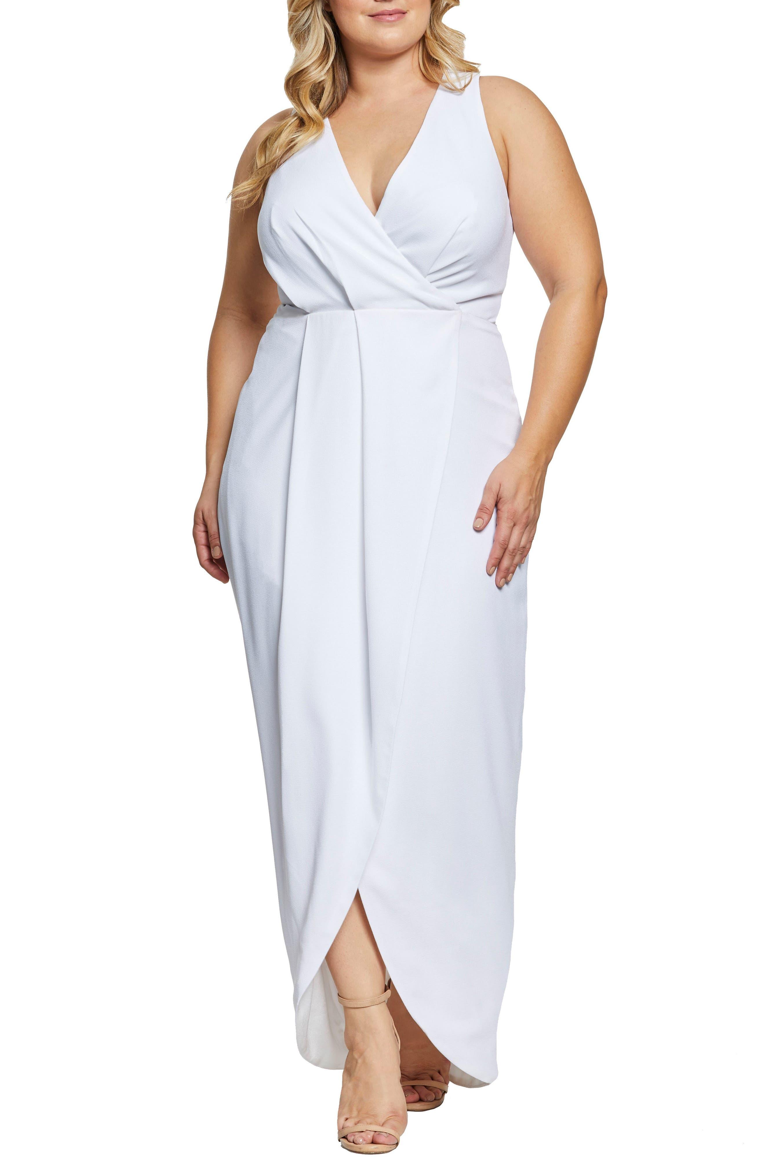 1960s – 70s Cocktail, Party, Prom, Evening Dresses Plus Size Womens Dress The Population Ariel Racerback Faux Wrap Evening Dress Size 2X - Ivory $248.00 AT vintagedancer.com