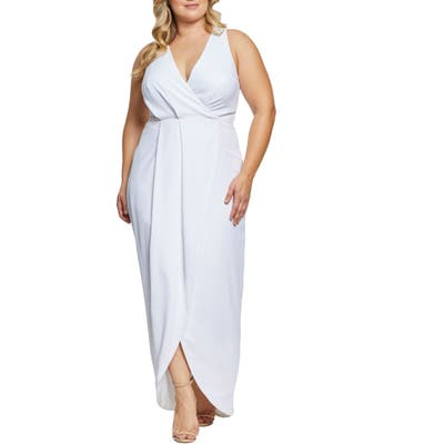 Plus Size Dress The Population Ariel Racerback Faux Wrap Evening Dress, Ivory