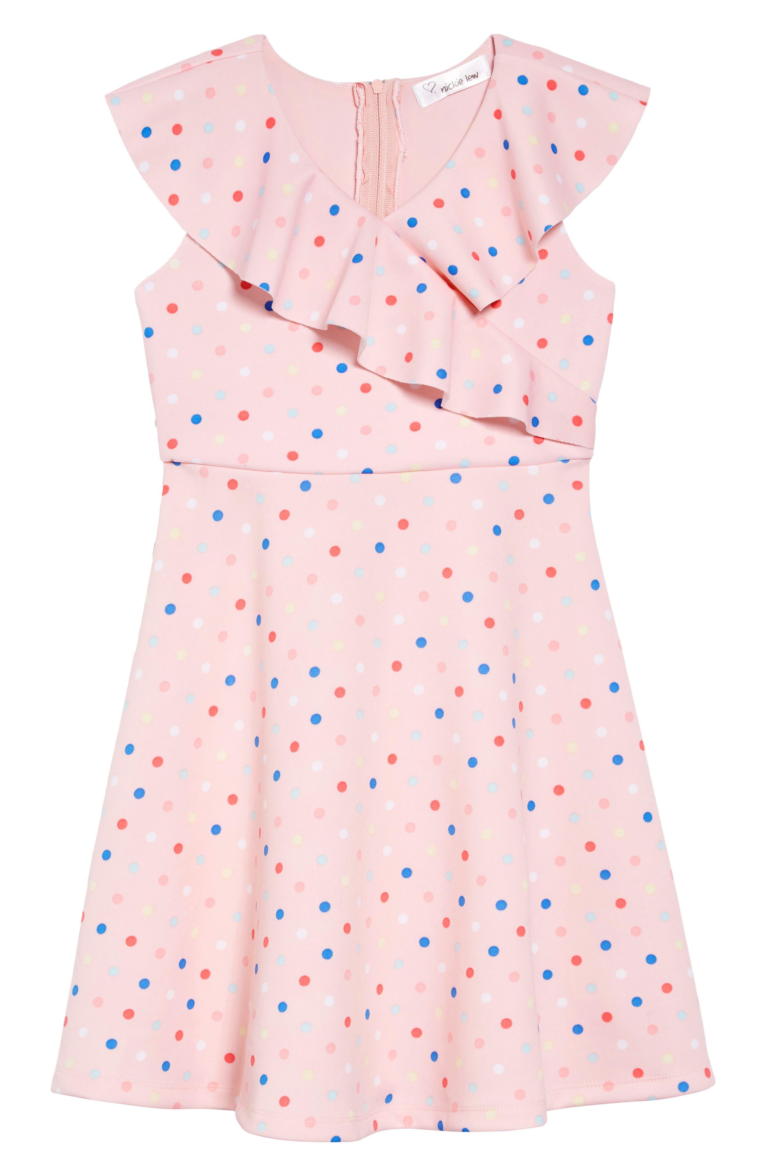 Ruffle Polka Dot Dress, Main, color, 693