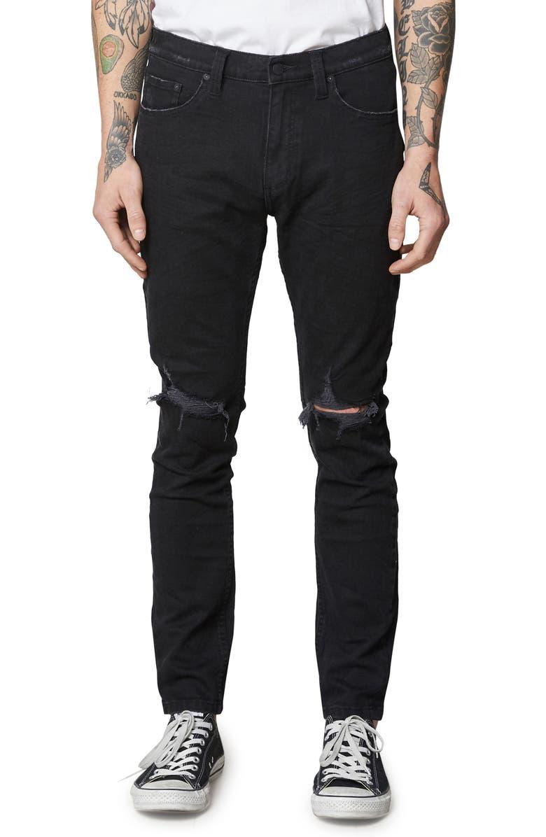 ROLLA'S Stinger Skinny Fit Jeans, Main, color, BLACK RIP