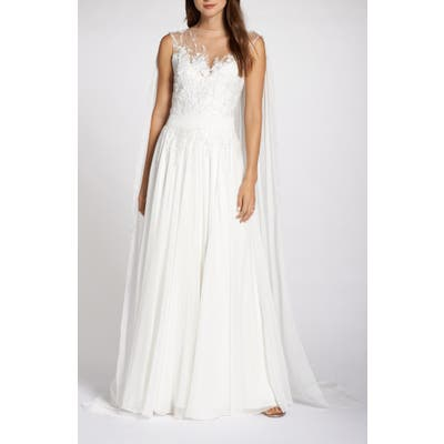Tadashi Shoji V-Neck Lace Wedding Dress With Cape, Ivory