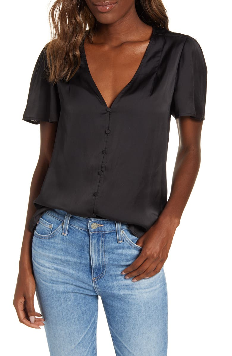 PAIGE Kelly Flutter Sleeve Top, Main, color, BLACK