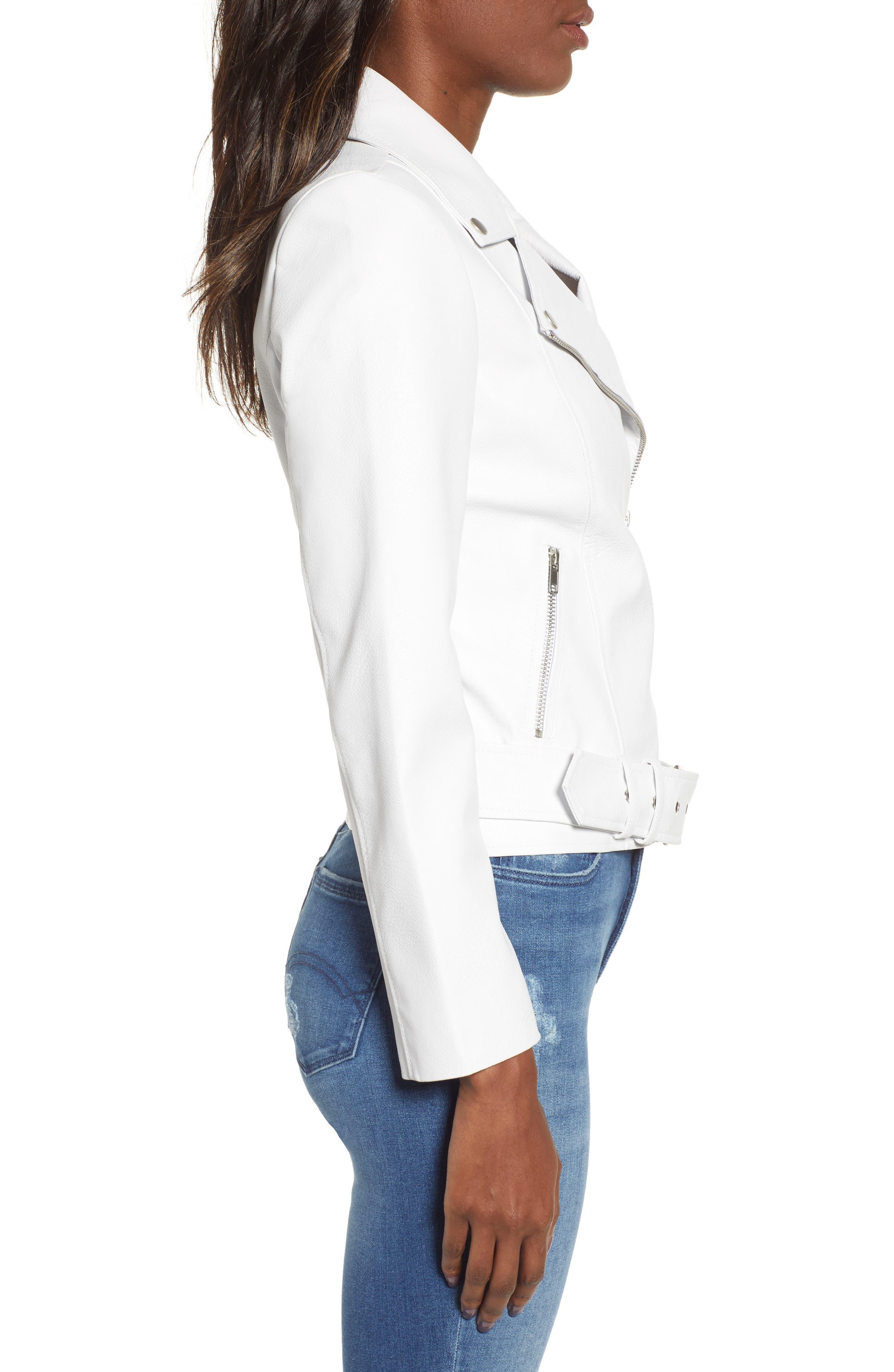 ,                             Guest List Faux Leather Moto Jacket,                             Alternate thumbnail 4, color,                             OPTIC WHITE