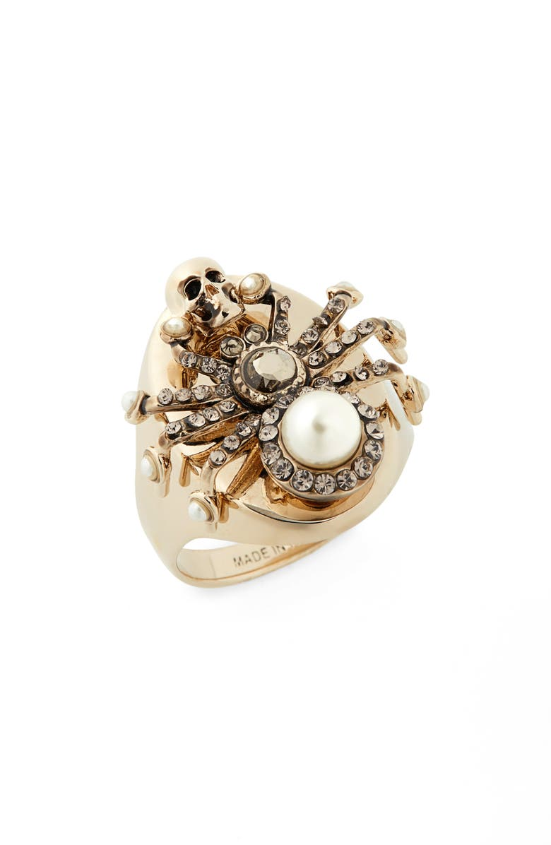 ALEXANDER MCQUEEN Spider Ring, Main, color, 100