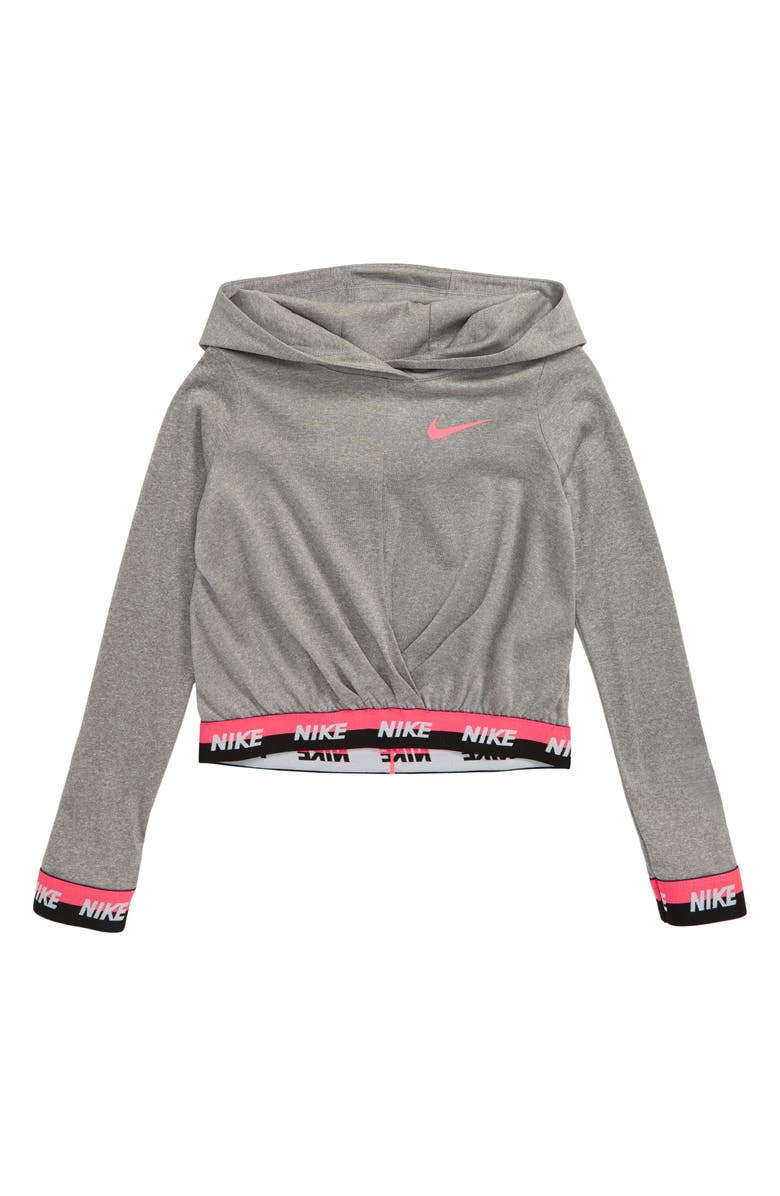 NIKE Sport Essentials Cross Front Dri-FIT Hoodie, Main, color, DK GREY HEATHER