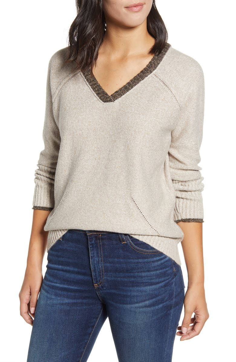 WIT & WISDOM Double V-Neck Sweater, Main, color, OAT OATMEAL