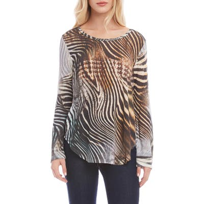 Karen Kane Animal Print Shirttail Top, Grey