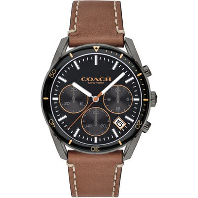 Coach Thompson Sport Chronograph Leather Strap Watch, 41Mm