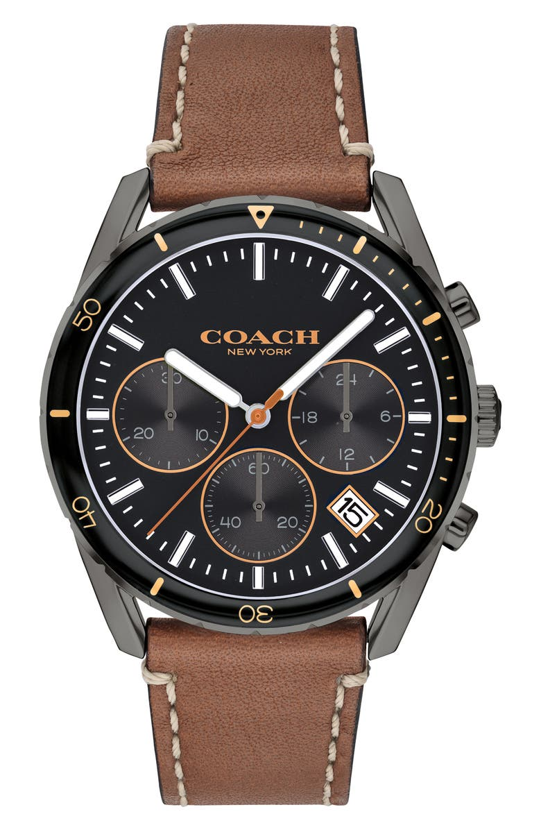 COACH Thompson Sport Chronograph Leather Strap Watch, 41mm, Main, color, BROWN/ BLACK/ GREY