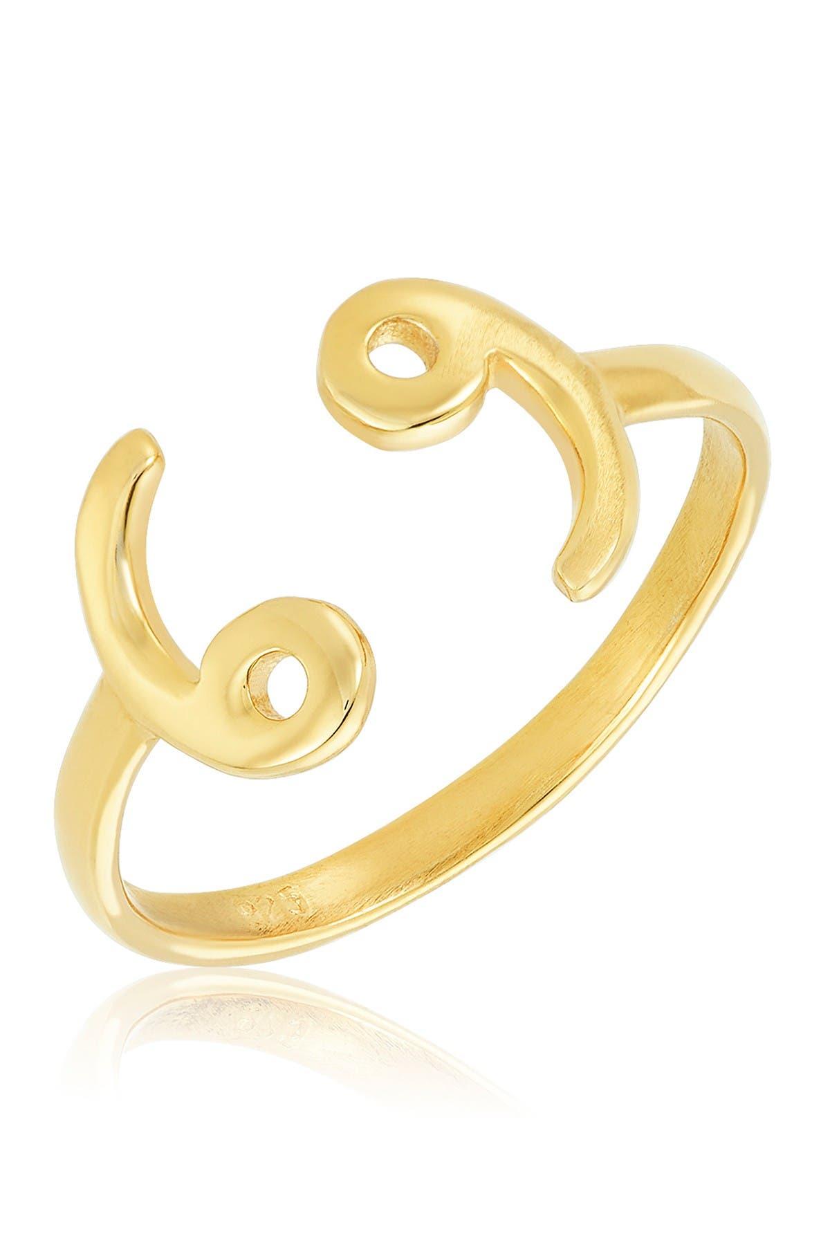 Image of Sterling Forever 14K Gold Vermeil Plated Sterling Silver Adjustable Zodiac Ring - Cancer