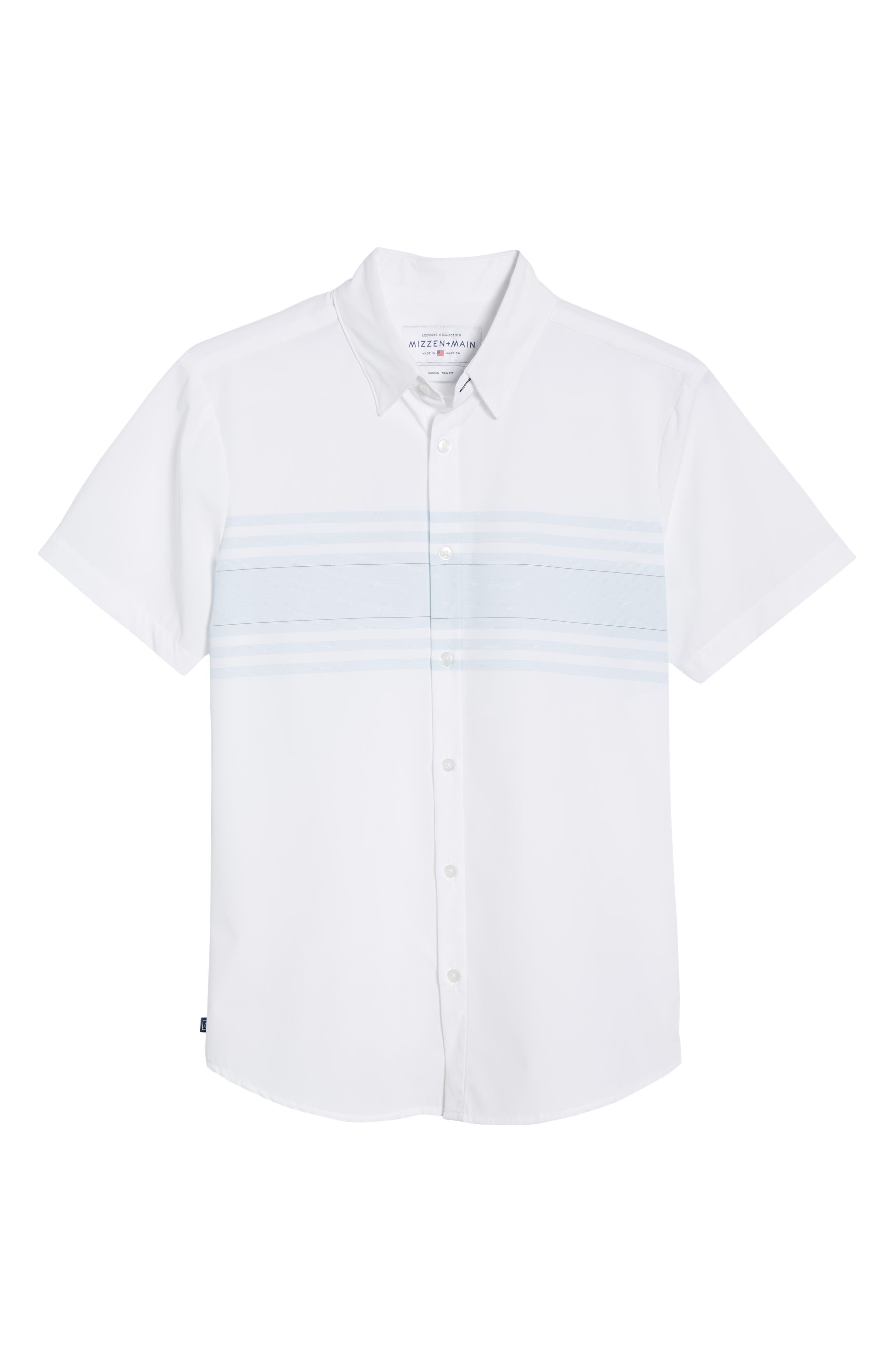 ,                             Weiss Trim Fit Stripe Sport Shirt,                             Alternate thumbnail 5, color,                             WHITE