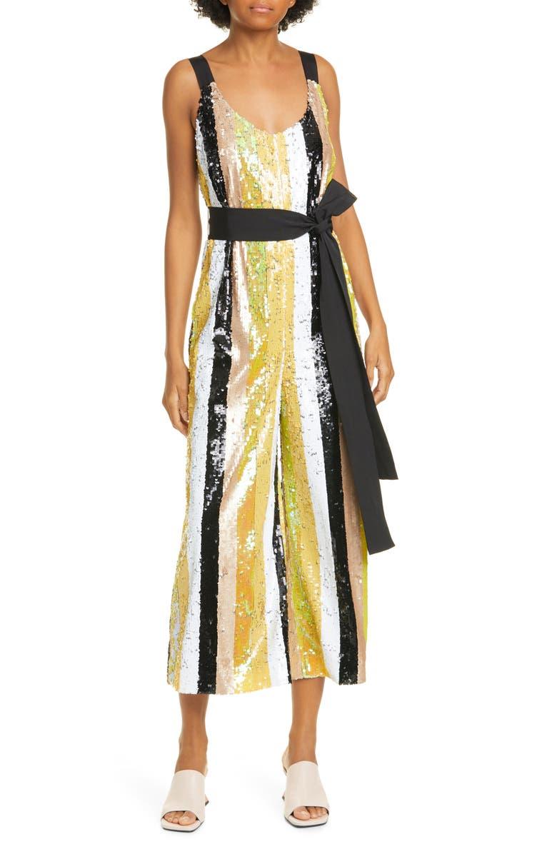 STAUD Puli Sequin Stripe Jumpsuit, Main, color, BUTTERCUP MULTI