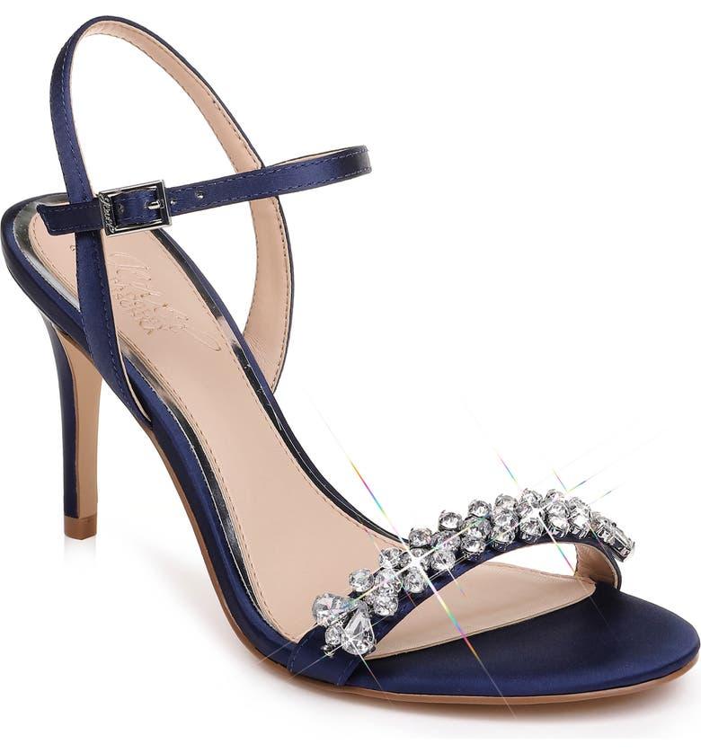 JEWEL BADGLEY MISCHKA Stefanie Embellished Sandal, Main, color, NAVY SATIN