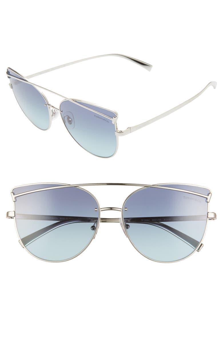 TIFFANY & CO. 61mm Cat Eye Sunglasses, Main, color, 040