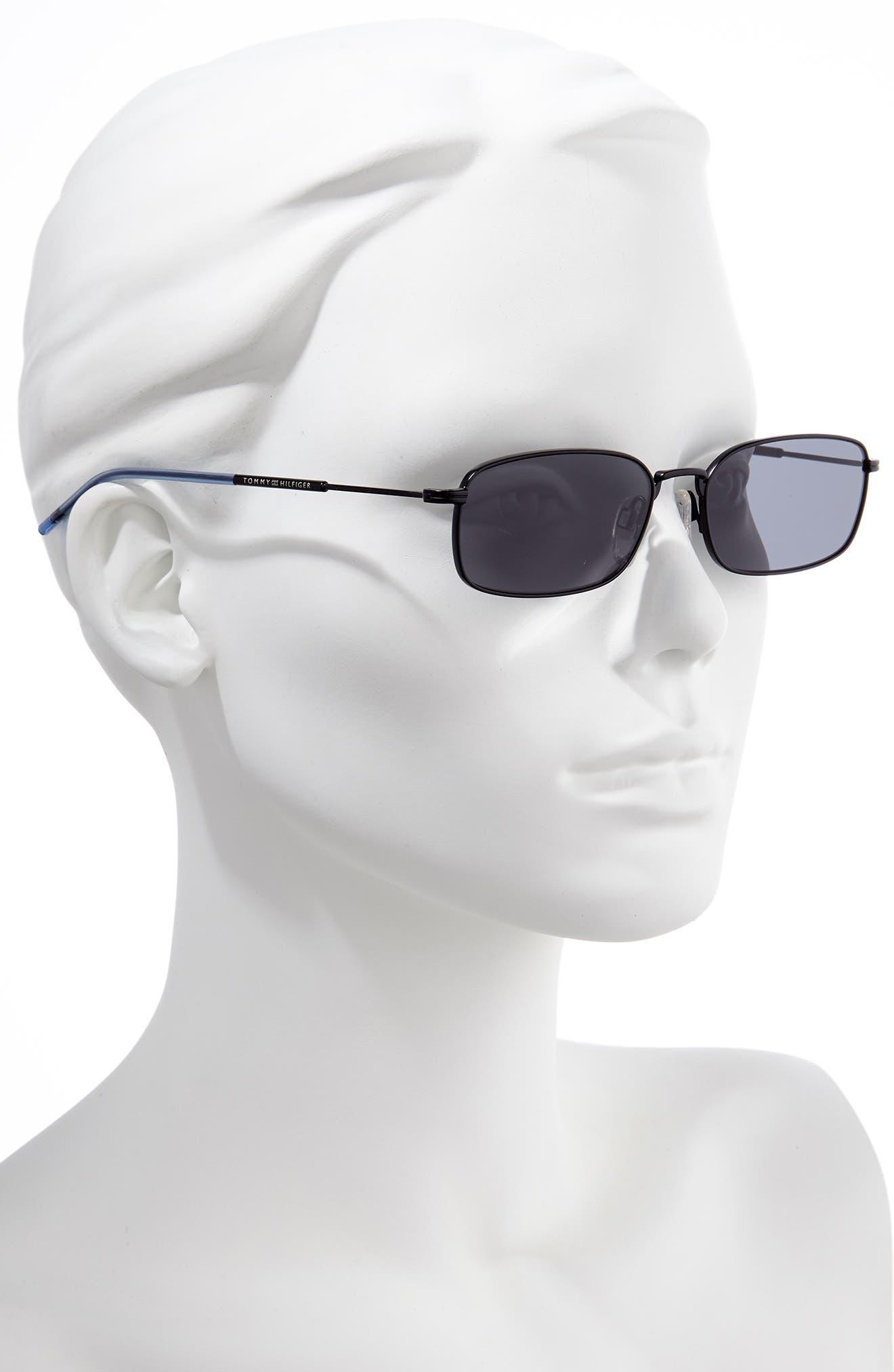 ,                             55mm Rectangle Sunglasses,                             Alternate thumbnail 2, color,                             MATTE BLACK/ BLACK