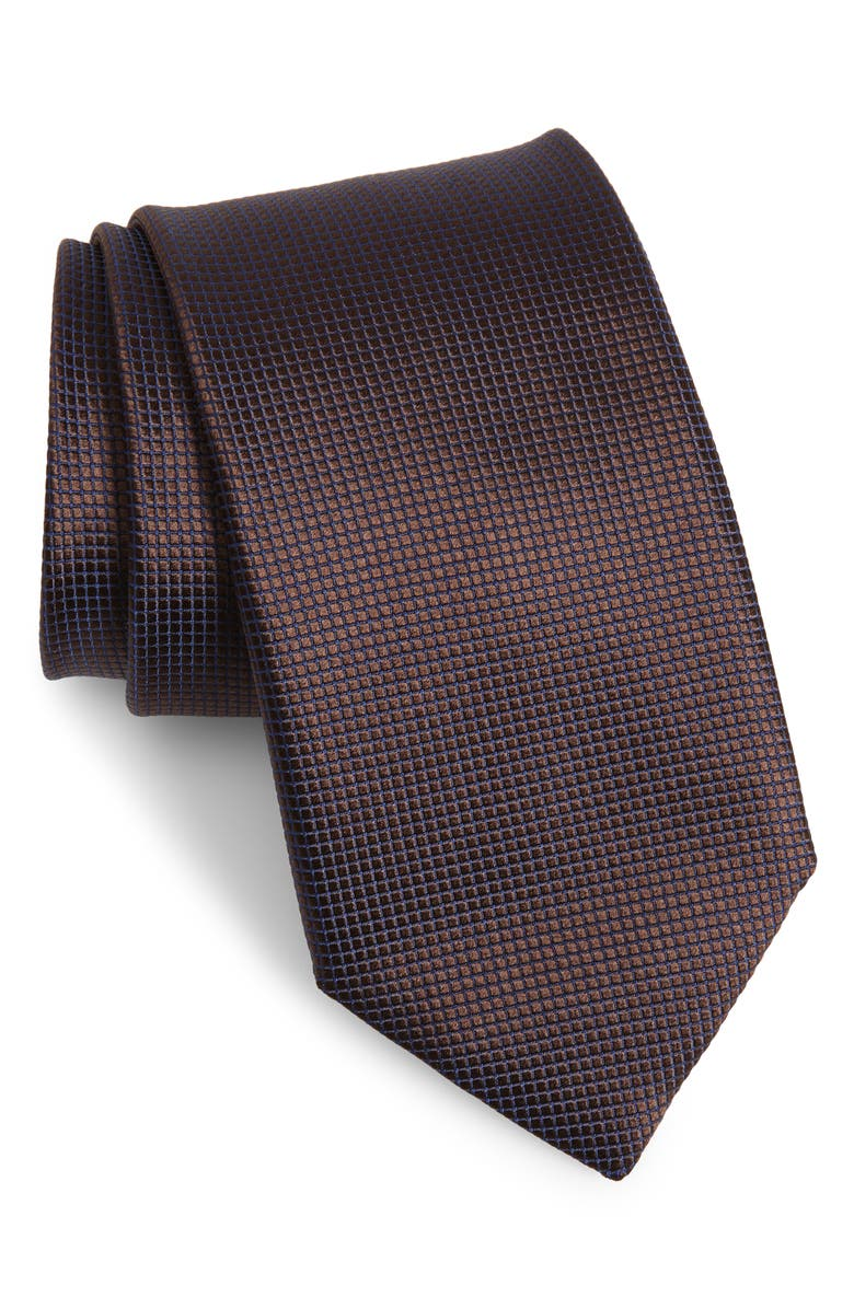 CANALI Solid Silk Tie, Main, color, DARK BROWN
