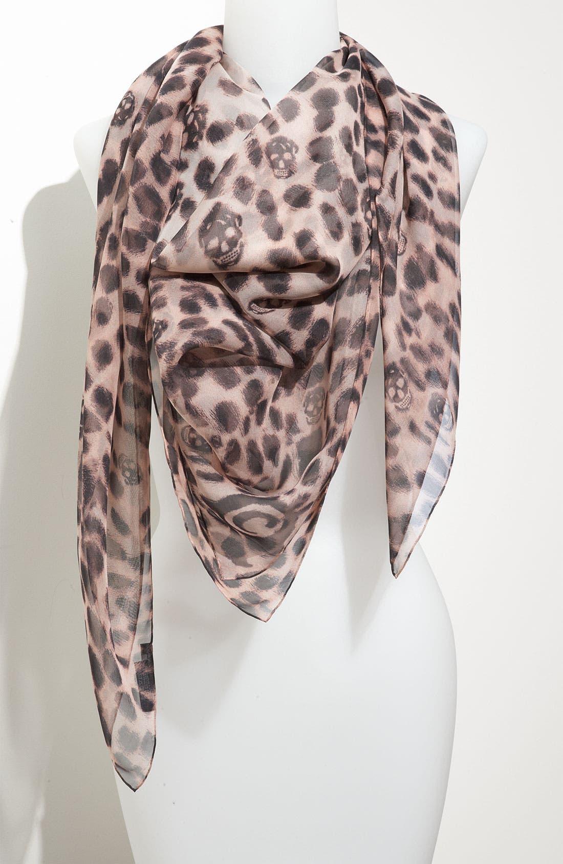 ,                             'Leopard Skull' Chiffon Scarf,                             Main thumbnail 24, color,                             650