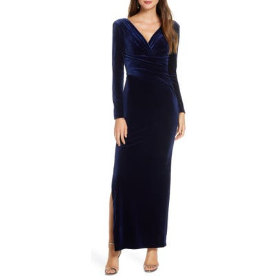 Eliza J Long Sleeve Ruched Velvet Gown, 8 (similar to 1) - Blue