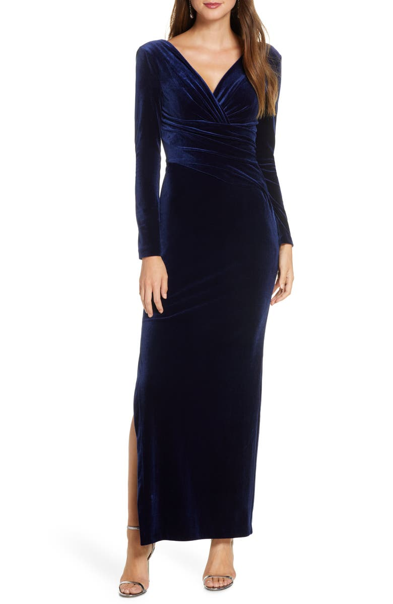 ELIZA J Long Sleeve Ruched Velvet Gown, Main, color, NAVY