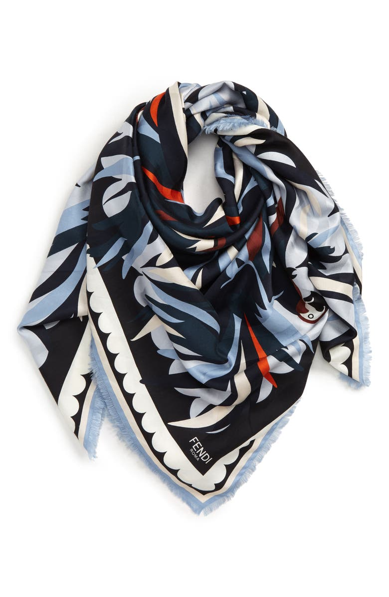 FENDI Parakeet Silk & Cashmere Shawl, Main, color, 400