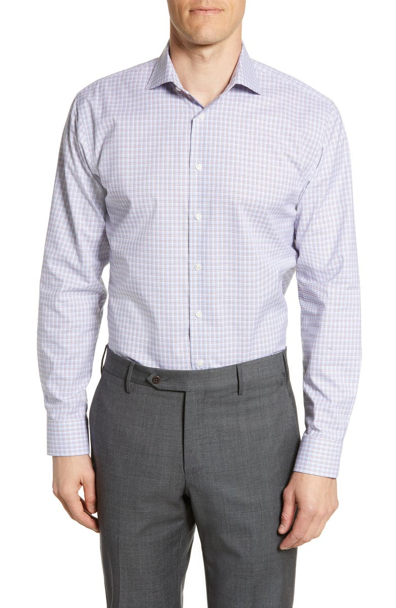 NORDSTROM MEN'S SHOP Trim Fit Stretch Non-Iron Check Dress Shirt, Main, color, RED TIBETAN