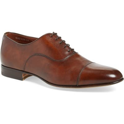 Santoni Darian Cap Toe Oxford, EE - Brown