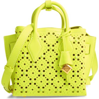 Mcm Mini Milla Perforated Leather Tote - Yellow