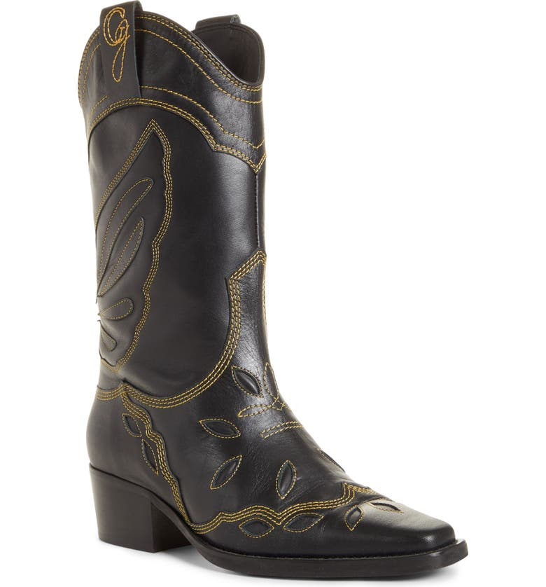 GANNI Texas Tall Western Boot, Main, color, BLACK 099