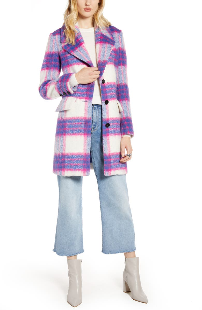 HALOGEN<SUP>®</SUP> Bold Plaid Coat, Main, color, PINK- BLUE