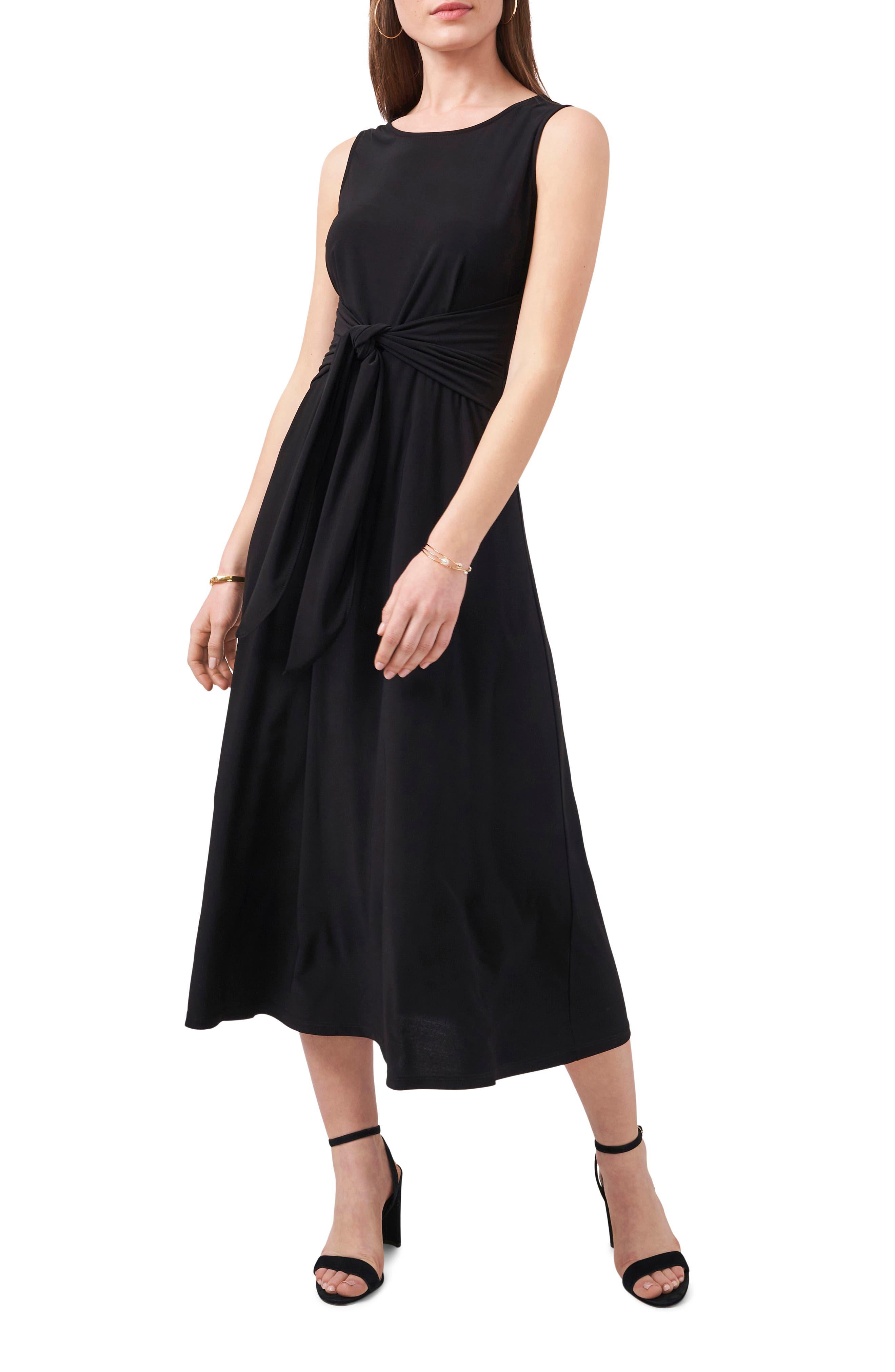 Tie Front Sleeveless Jersey Midi Dress