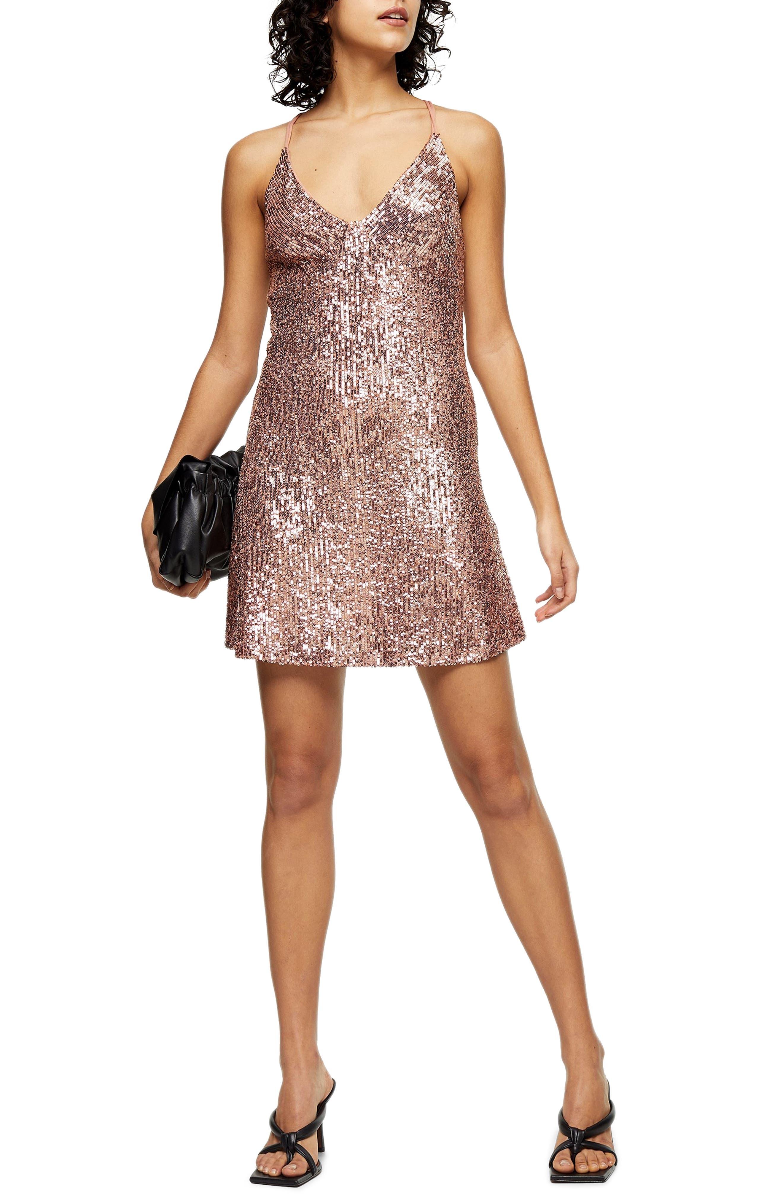 Image of TOPSHOP Sequin Open Back Minidress