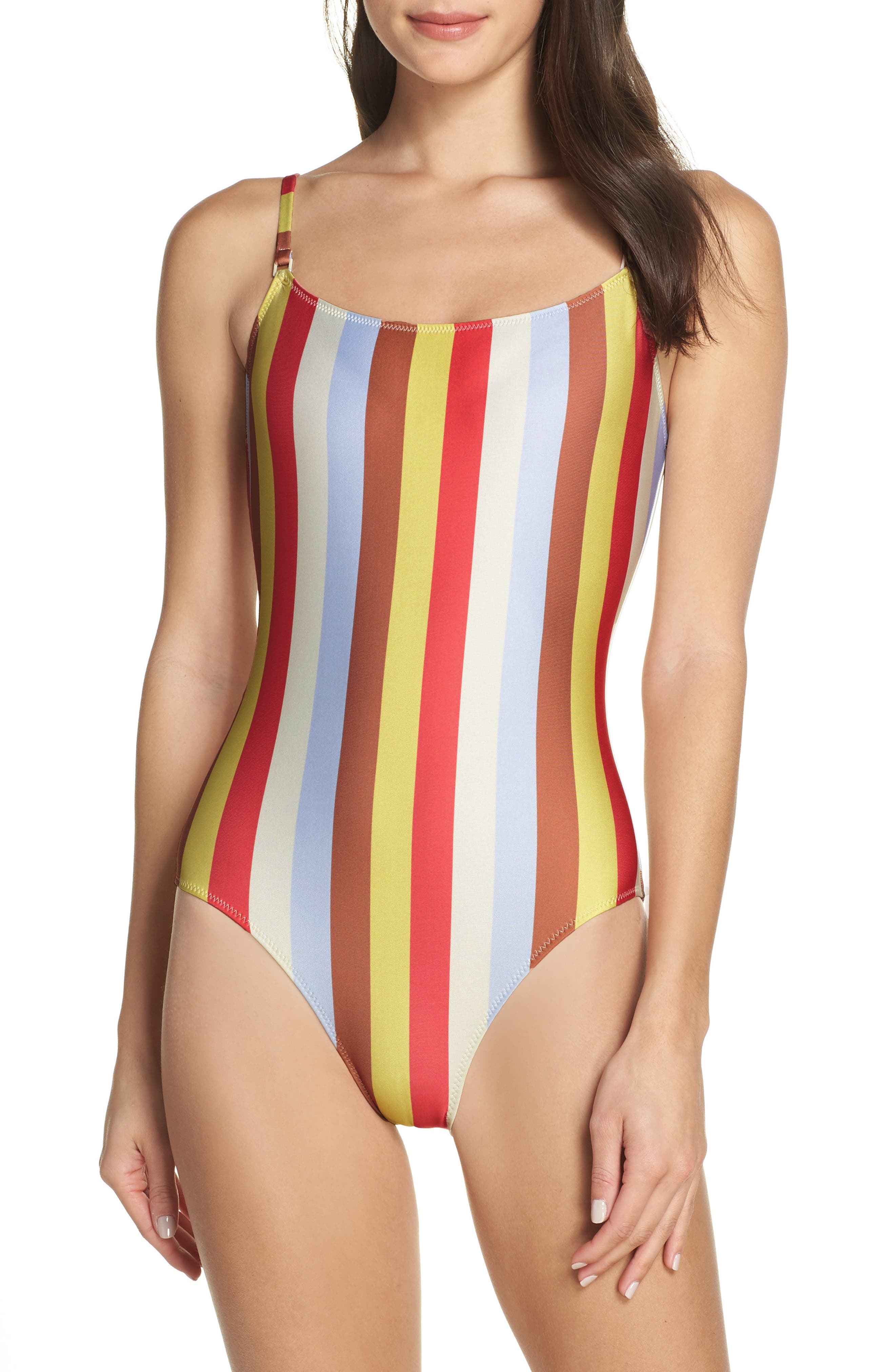 60s Swimsuits, 70s Bathing Suits | Retro Swimwear Womens Solid  Striped The Nina One-Piece Swimsuit $94.80 AT vintagedancer.com