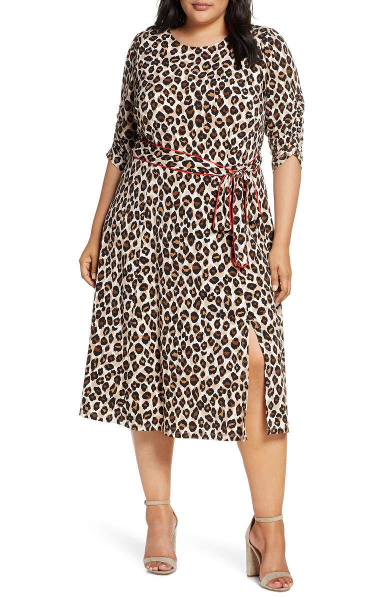 ELIZA J Leopard Print Piped Sash Midi Dress, Main, color, ANIMAL