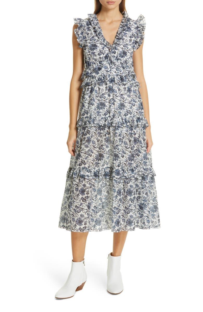 Carmen Floral Print Cotton & Silk Dress by Robert Rodriguez