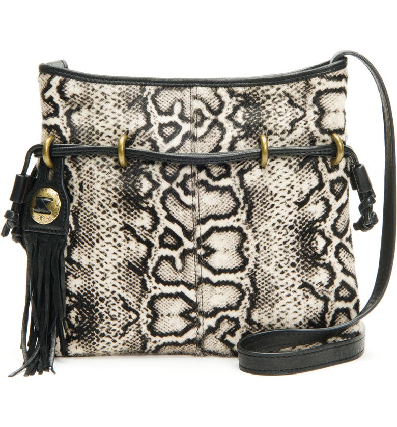 FRYE Sacha Leather & Genuine Calf Hair Crossbody Bag, Main, color, BLACK/ WHITE MULTI