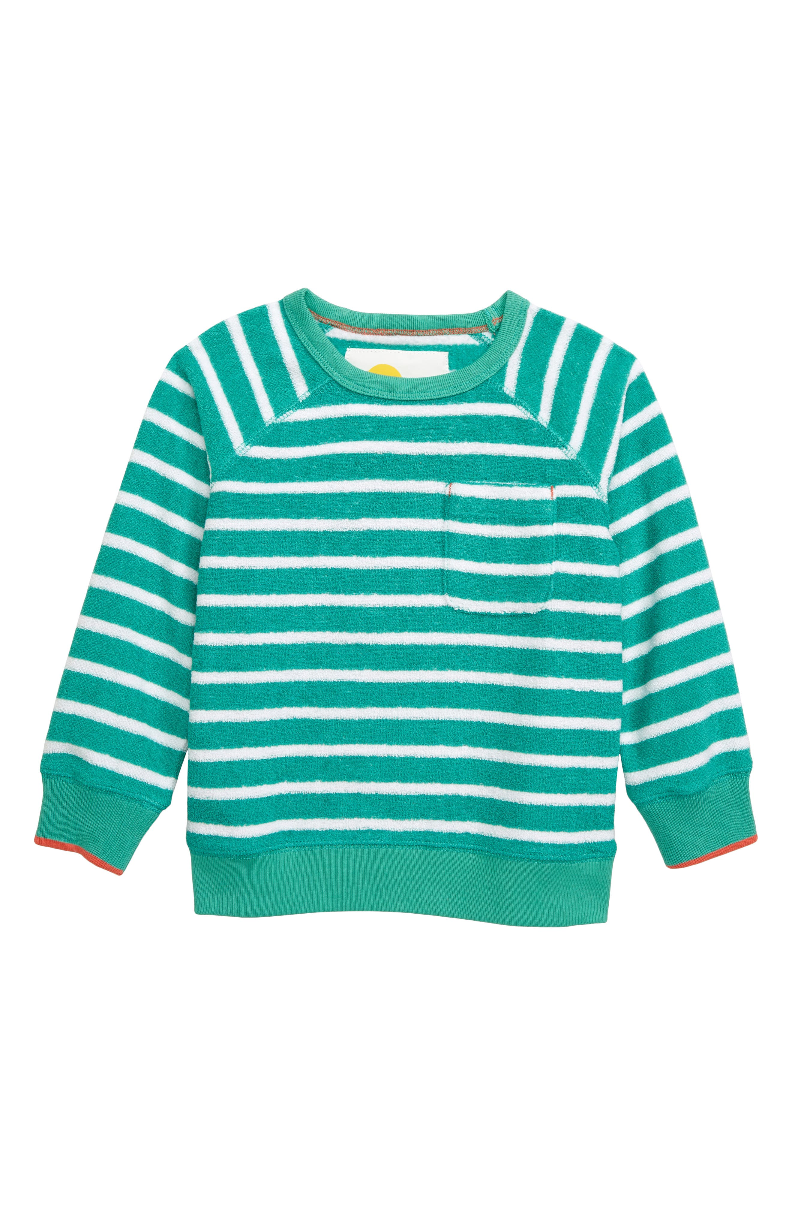 Towelling Sweatshirt, Main, color, JUNGLE GREEN/ WHITE