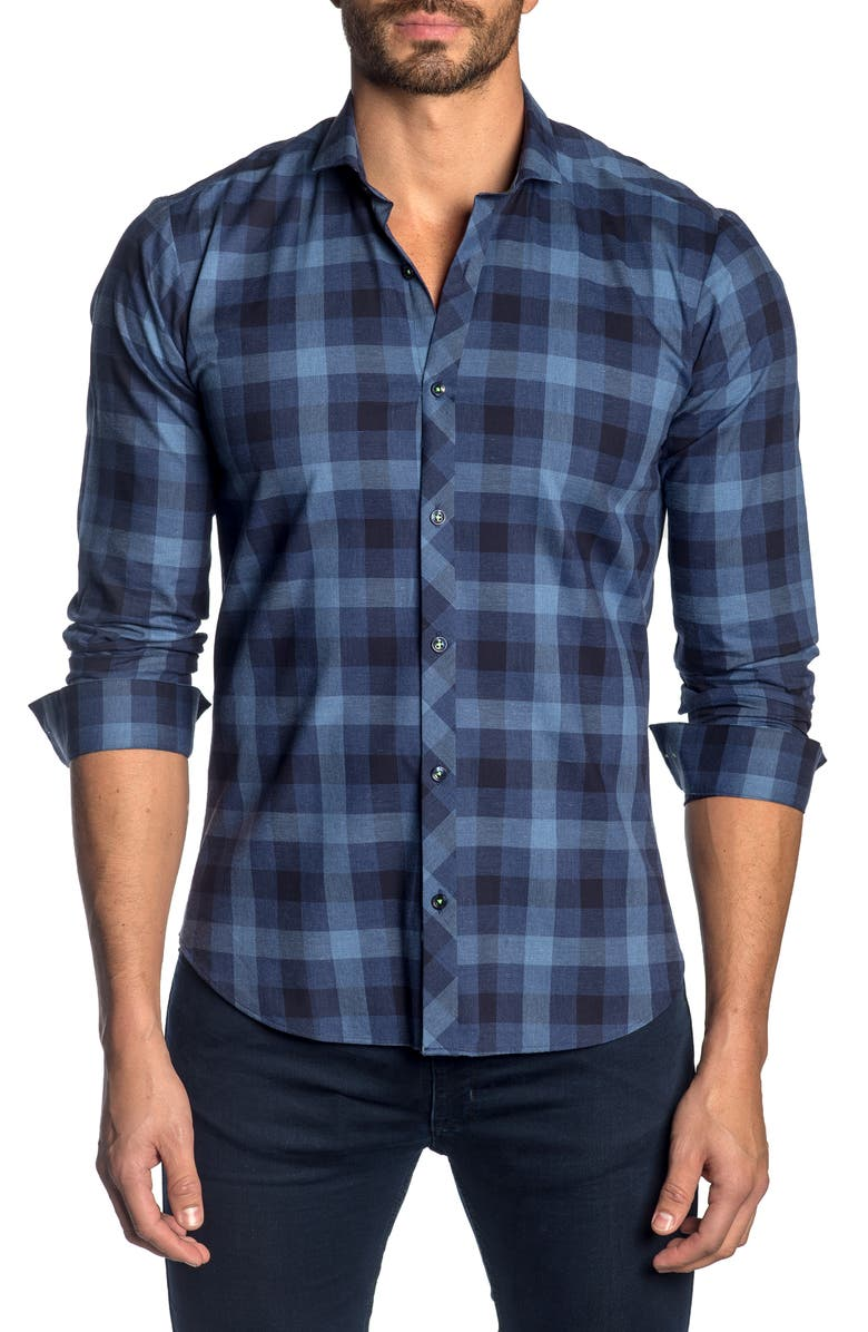 JARED LANG Slim Fit Plaid Button-Up Sport Shirt, Main, color, BLUE PLAID