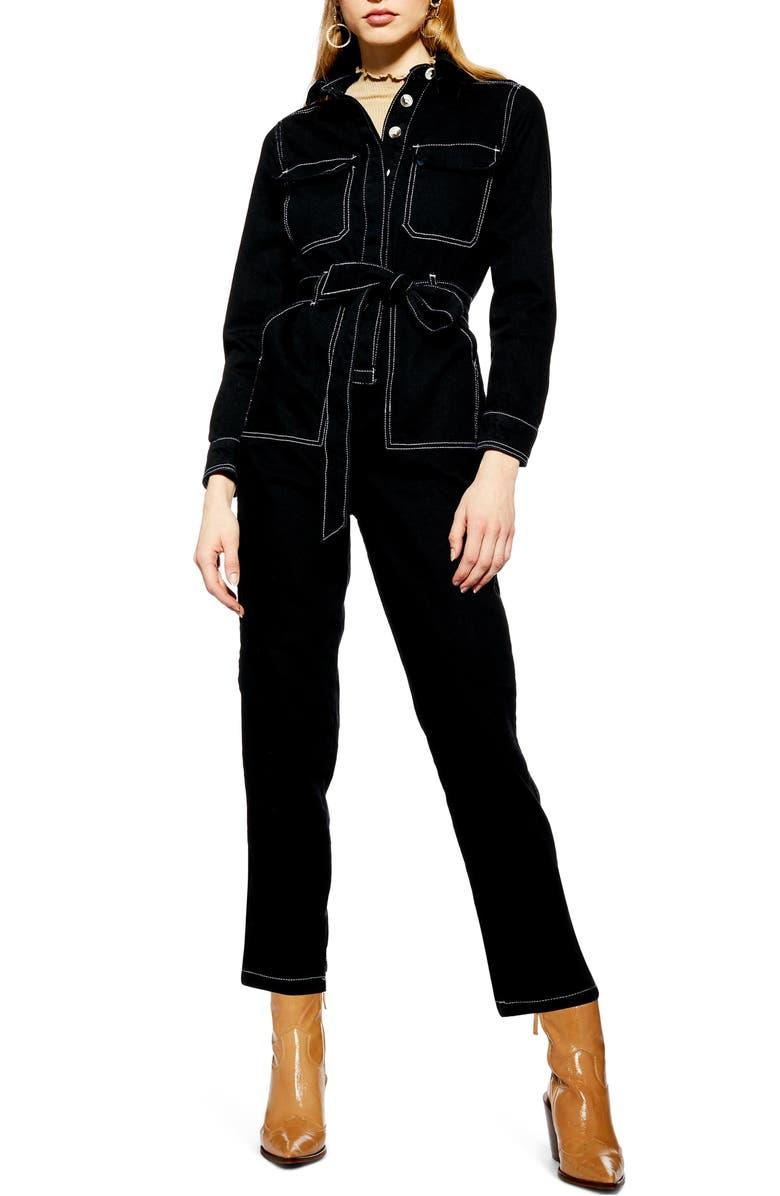 TOPSHOP Denim Boiler Suit, Main, color, 001