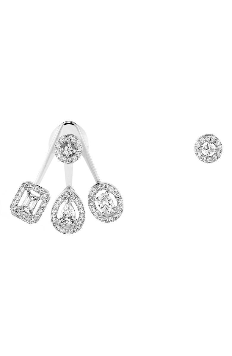 MESSIKA My Twin Mono Mismatched Diamond Earrings, Main, color, WHITE GOLD/ DIAMOND