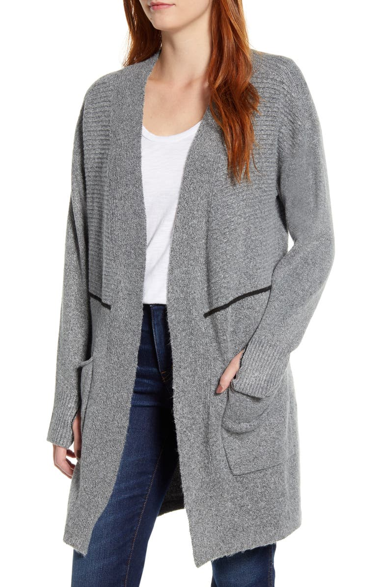 WIT & WISDOM Thumbhole Open Front Cardigan, Main, color, HG HEATHER