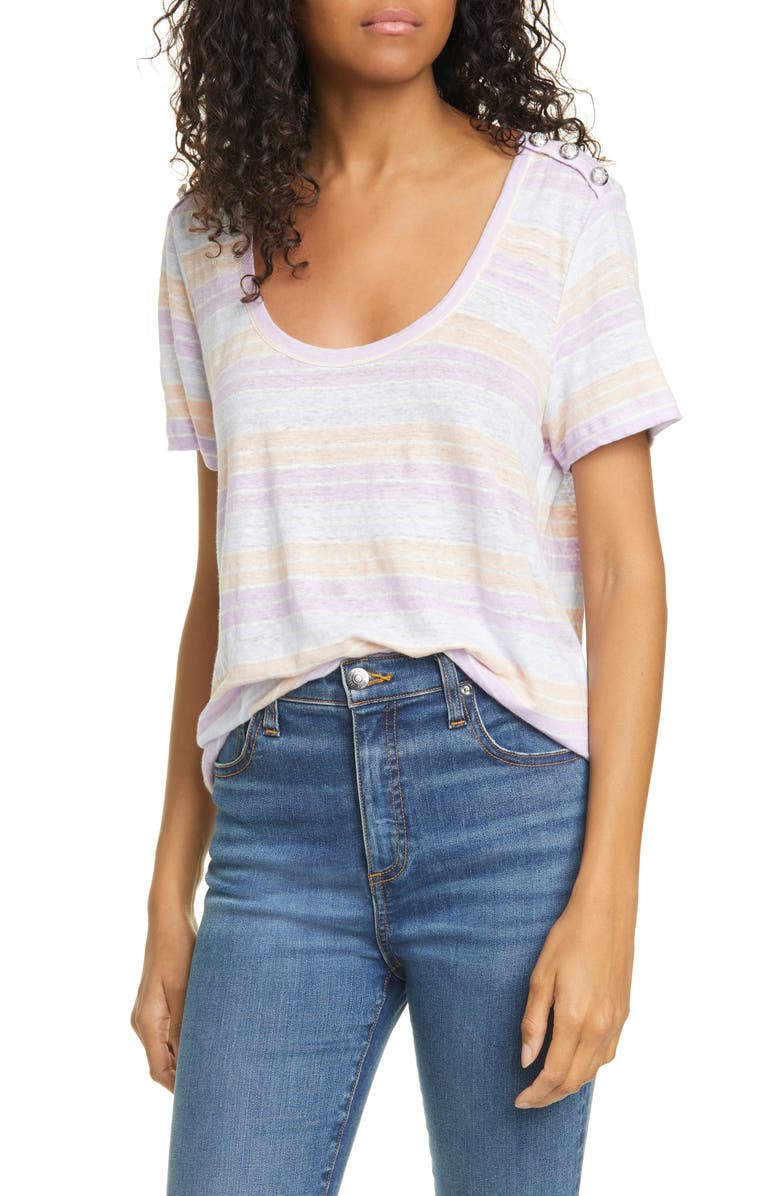 VERONICA BEARD Benji Stripe Linen T-Shirt, Main, color, 650