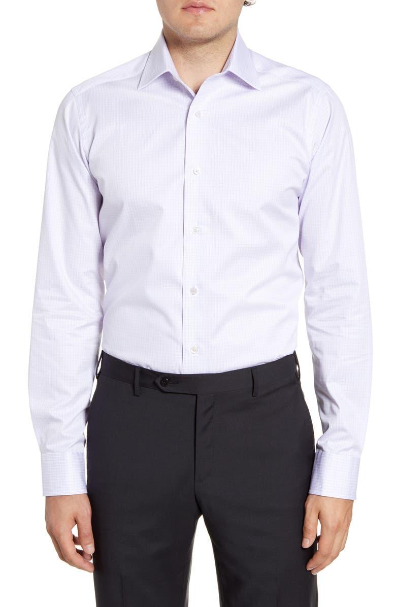 DAVID DONAHUE Slim Fit Check Dress Shirt, Main, color, BERRY