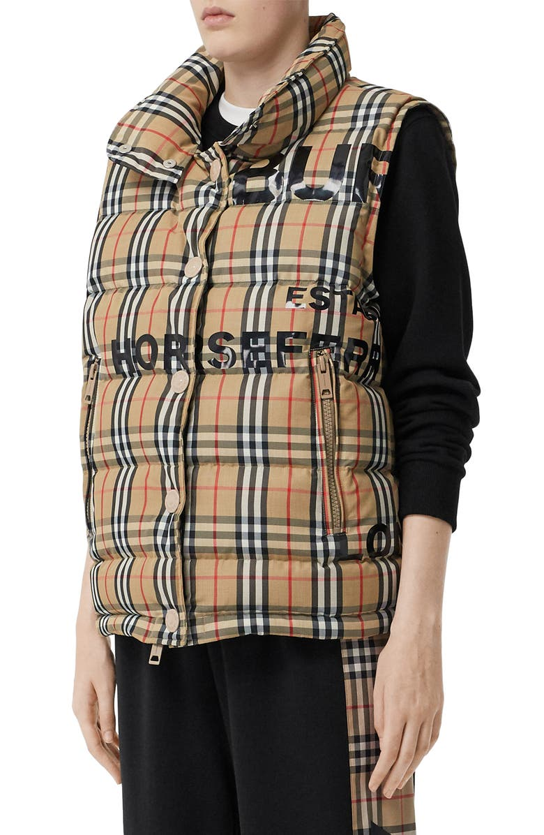 BURBERRY Sterling Horseferry Print Vintage Check Down Puffer Vest, Main, color, ARCHIVE BEIGE IP CHK