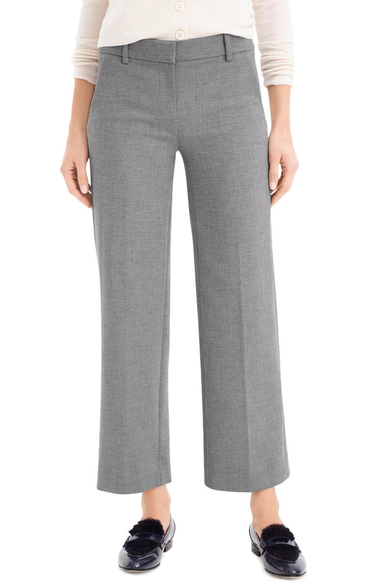 J.CREW Wide Leg Pant in Four Season Stretch, Main, color, HEATHER GRAPHITE