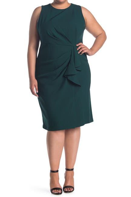 Image of Donna Ricco Draped Ruffle Waist Sheath Dress