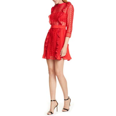 Self-Portrait Ruffle Lace Minidress, Red