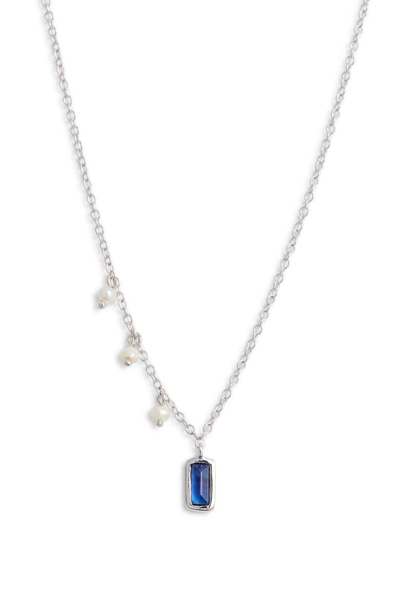MEIRA T Sapphire & Pearl Pendant Necklace, Main, color, 711