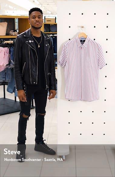 Trim Fit Stripe Short Sleeve Button-Down Shirt, sales video thumbnail