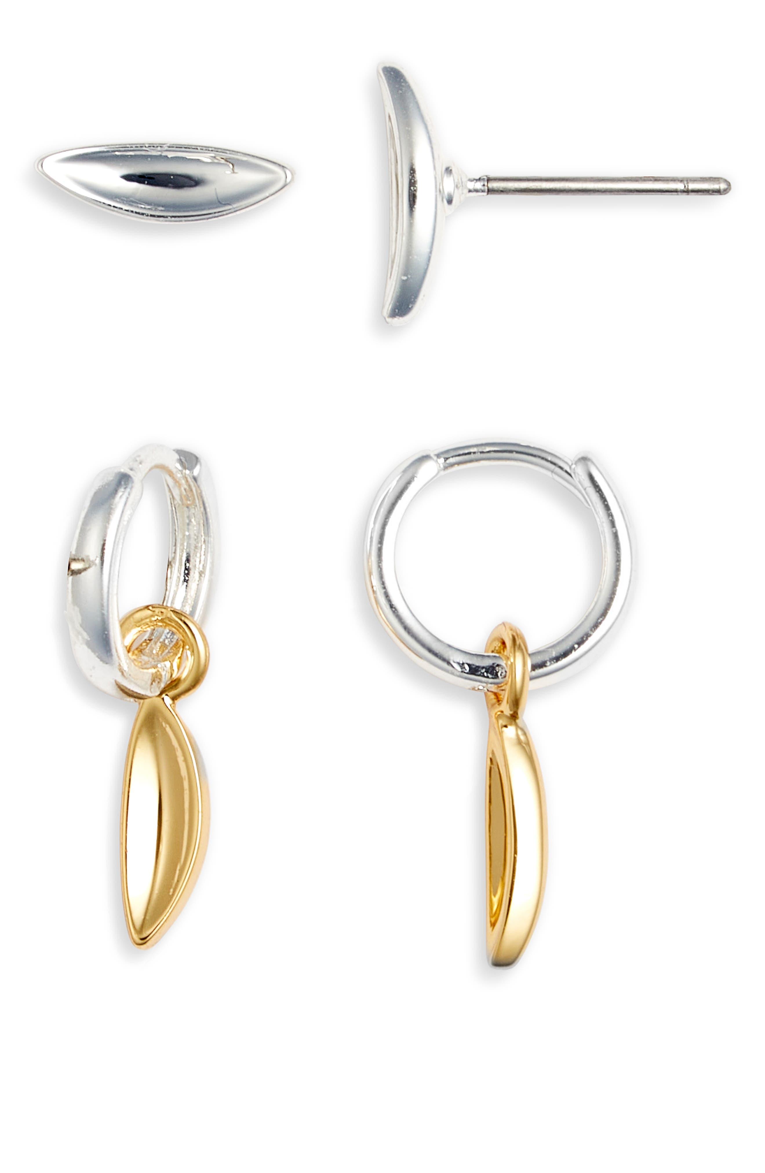 Clean Metals Set Of Stud & Huggie Hoop Earrings